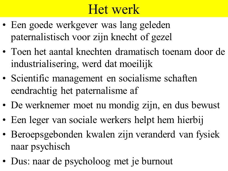 Het werk Een goede werkgever was lang geleden paternalistisch voor zijn knecht of gezel Toen het aantal knechten dramatisch toenam door de industriali