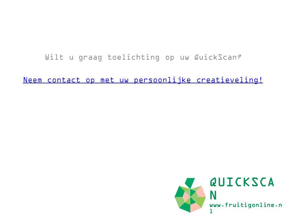 Wilt u graag toelichting op uw QuickScan? Neem contact op met uw persoonlijke creatieveling! QUICKSCA N www.fruitigonline.n l