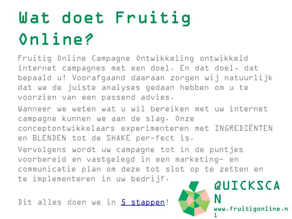 Wat doet Fruitig Online? Fruitig Online Campagne Ontwikkeling ontwikkeld internet campagnes met een doel. En dat doel, dat bepaald u! Voorafgaand daar