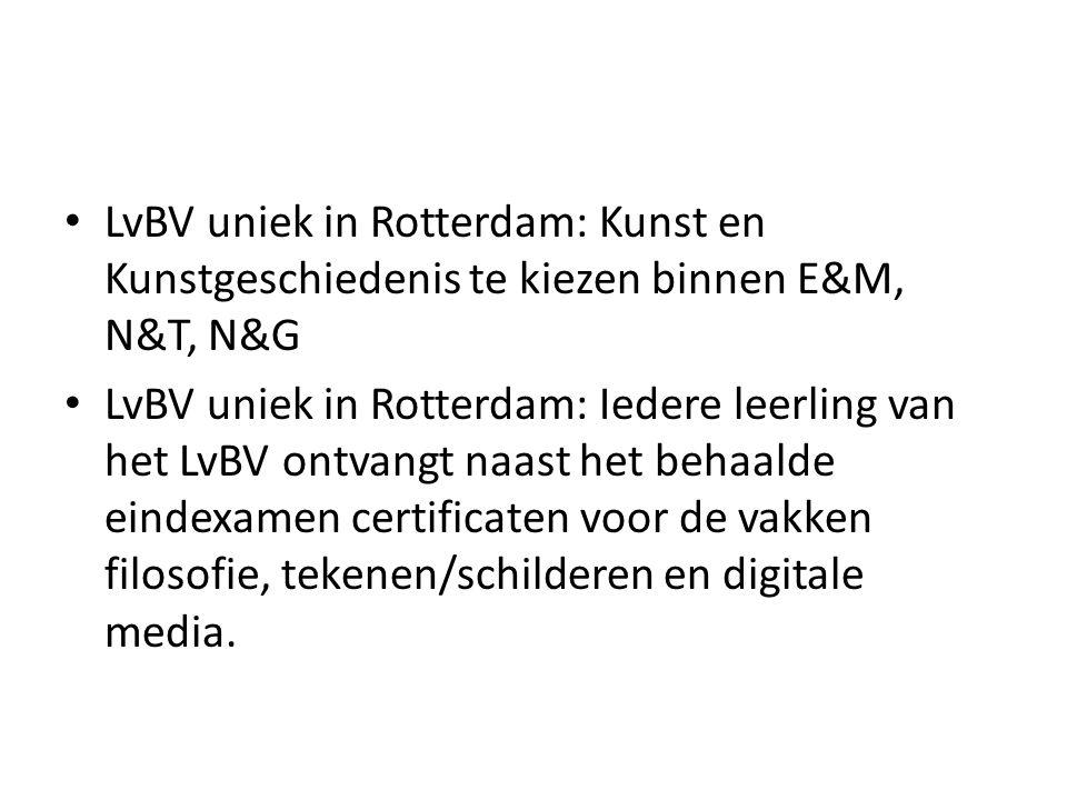 LvBV uniek in Rotterdam: Kunst en Kunstgeschiedenis te kiezen binnen E&M, N&T, N&G LvBV uniek in Rotterdam: Iedere leerling van het LvBV ontvangt naas
