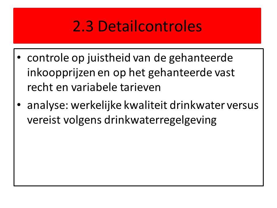 2.3 Detailcontroles controle op juistheid van de gehanteerde inkoopprijzen en op het gehanteerde vast recht en variabele tarieven analyse: werkelijke