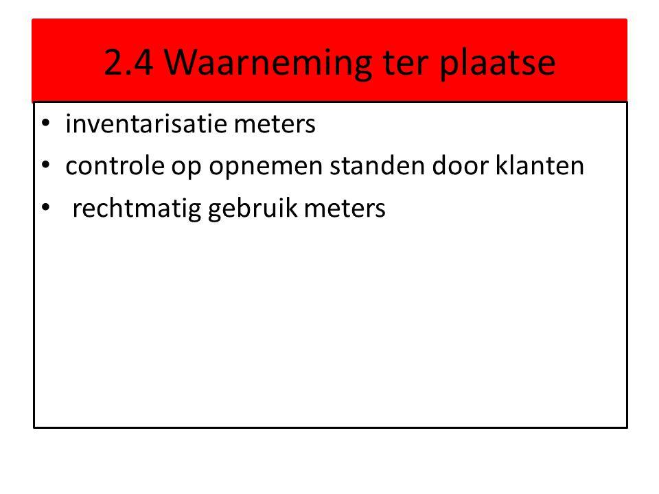 2.4 Waarneming ter plaatse inventarisatie meters controle op opnemen standen door klanten rechtmatig gebruik meters