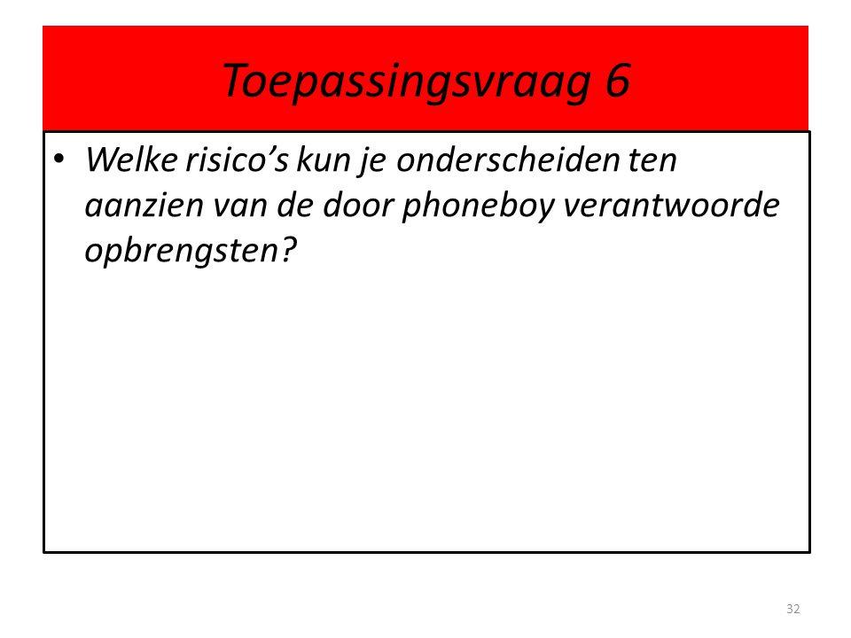 Toepassingsvraag 6 Welke risico's kun je onderscheiden ten aanzien van de door phoneboy verantwoorde opbrengsten? 32