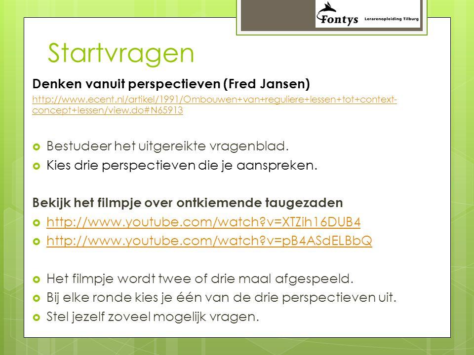 Startvragen Denken vanuit perspectieven (Fred Jansen) http://www.ecent.nl/artikel/1991/Ombouwen+van+reguliere+lessen+tot+context- concept+lessen/view.do#N65913  Bestudeer het uitgereikte vragenblad.