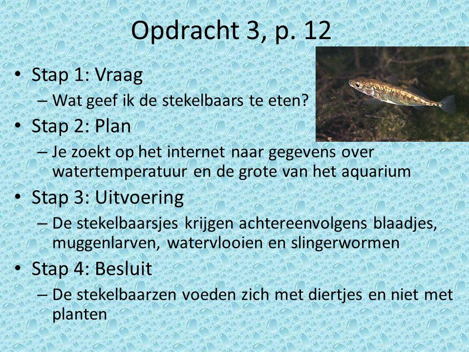 Opdracht 3, p. 12 Stap 1: Vraag – Wat geef ik de stekelbaars te eten? Stap 2: Plan – Je zoekt op het internet naar gegevens over watertemperatuur en d
