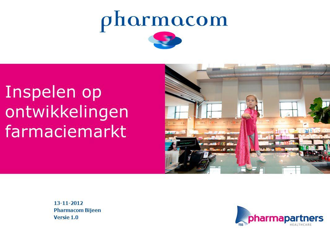 Inspelen op ontwikkelingen farmaciemarkt 13-11-2012 Pharmacom Bijeen Versie 1.0