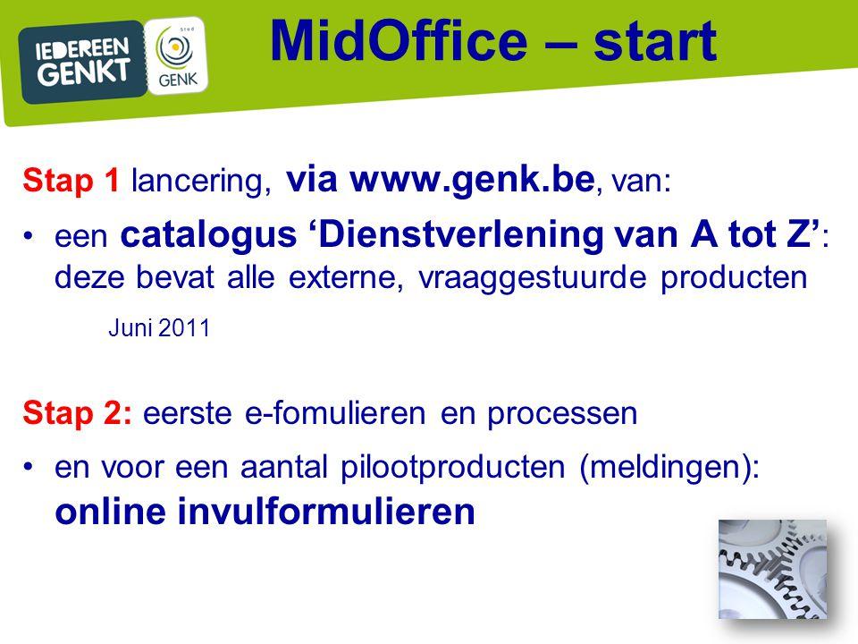 Stap 1 lancering, via www.genk.be, van: een catalogus 'Dienstverlening van A tot Z' : deze bevat alle externe, vraaggestuurde producten Juni 2011 Stap