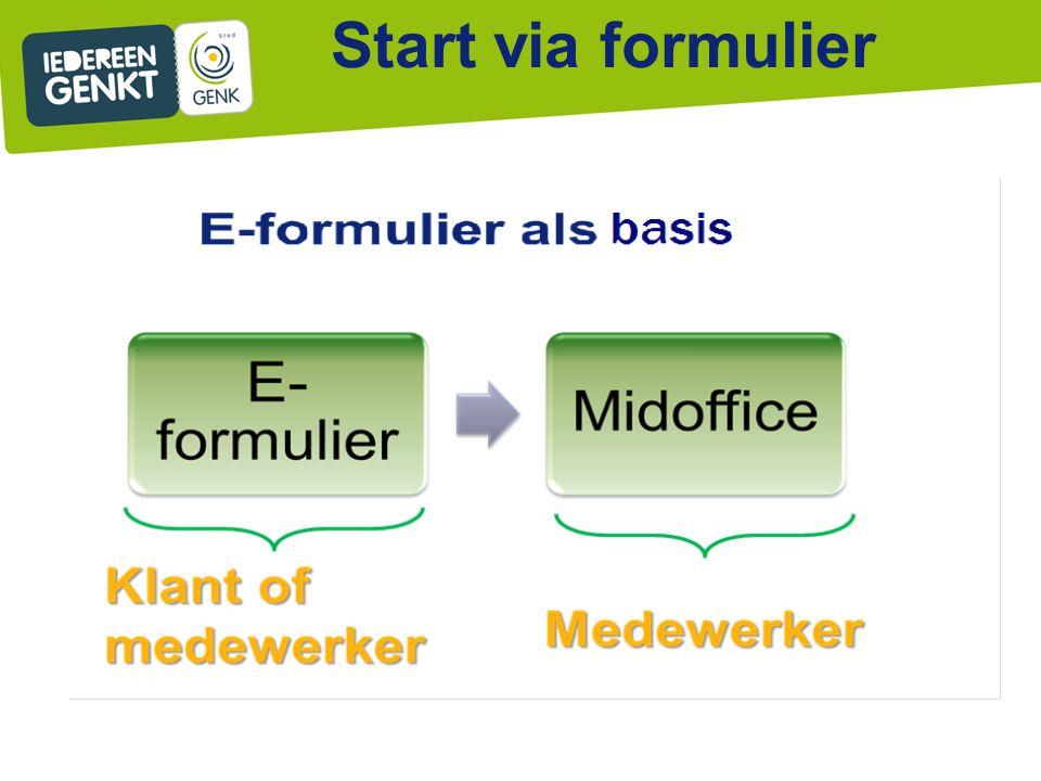 Start via formulier