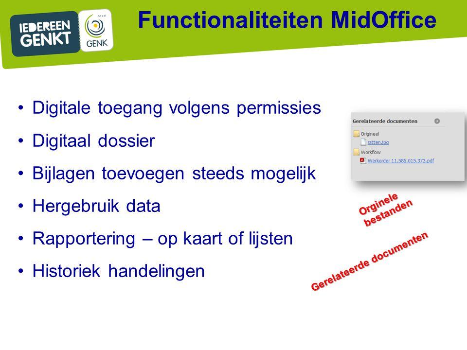 Orginele bestanden Gerelateerde documenten Functionaliteiten MidOffice Digitale toegang volgens permissies Digitaal dossier Bijlagen toevoegen steeds