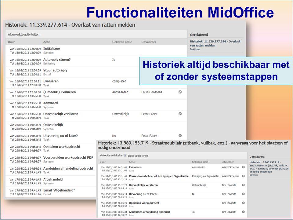 Historiek altijd beschikbaar met of zonder systeemstappen Functionaliteiten MidOffice