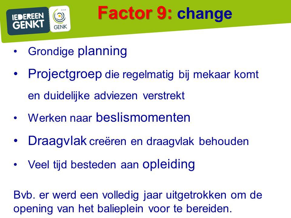 Factor 9: Factor 9: change Grondige planning Projectgroep die regelmatig bij mekaar komt en duidelijke adviezen verstrekt Werken naar beslismomenten D
