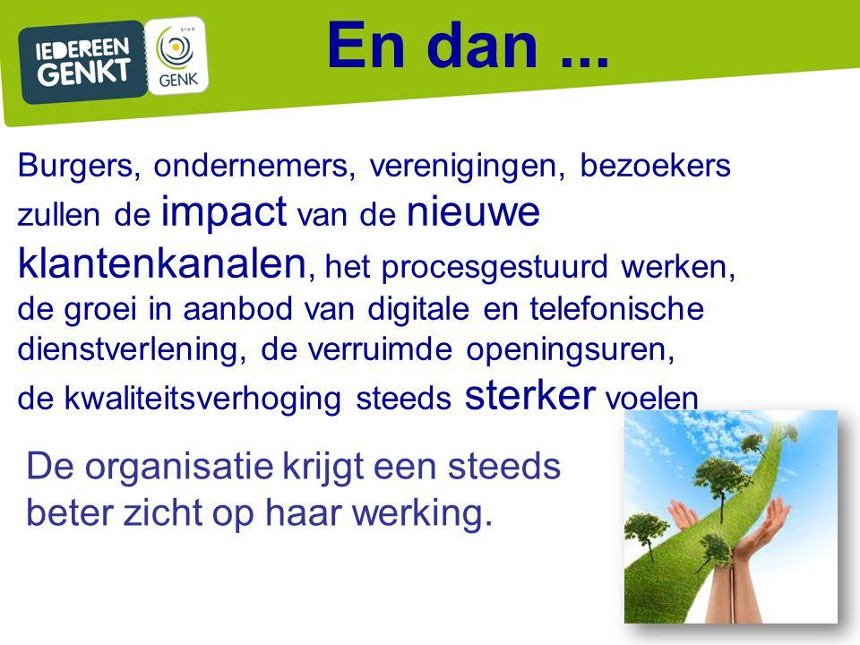 En dan... Burgers, ondernemers, verenigingen, bezoekers zullen de impact van de nieuwe klantenkanalen, het procesgestuurd werken, de groei in aanbod v