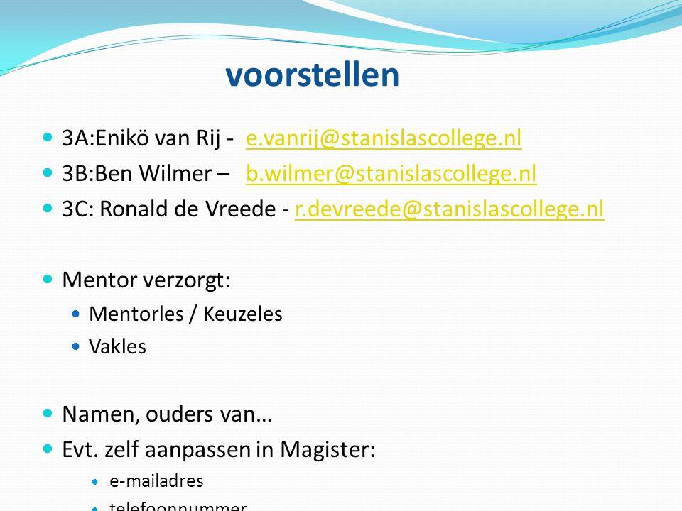 voorstellen 3A:Enikö van Rij - e.vanrij@stanislascollege.nle.vanrij@stanislascollege.nl 3B:Ben Wilmer – b.wilmer@stanislascollege.nlb.wilmer@stanislas