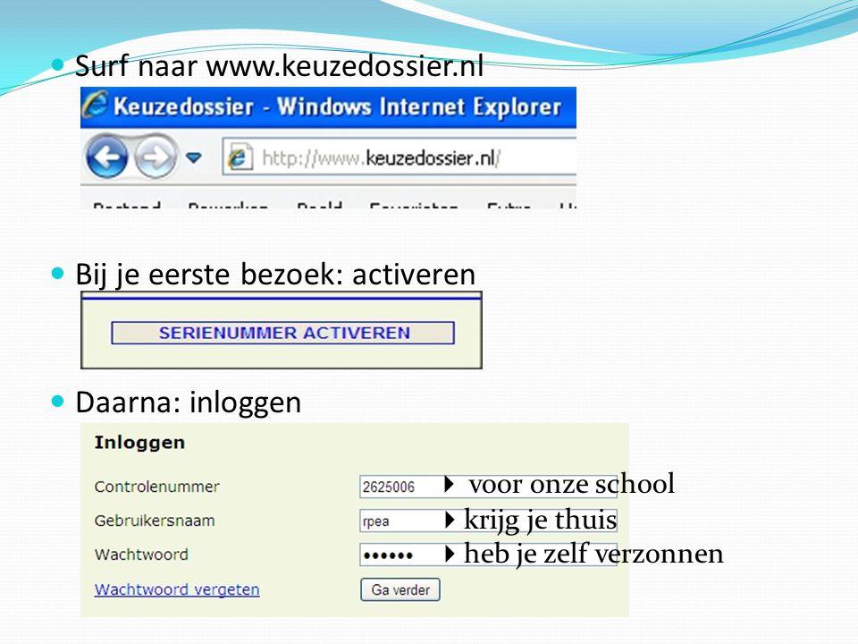 Surf naar www.keuzedossier.nl Bij je eerste bezoek: activeren Daarna: inloggen  voor onze school  krijg je thuis  heb je zelf verzonnen