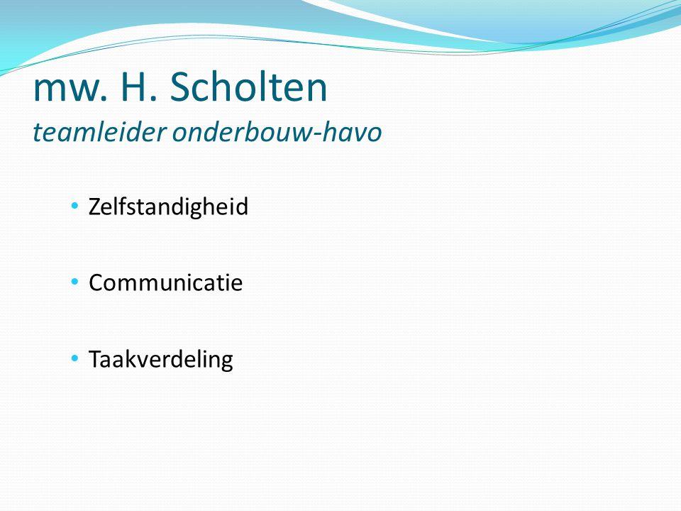 mw. H. Scholten teamleider onderbouw-havo Zelfstandigheid Communicatie Taakverdeling