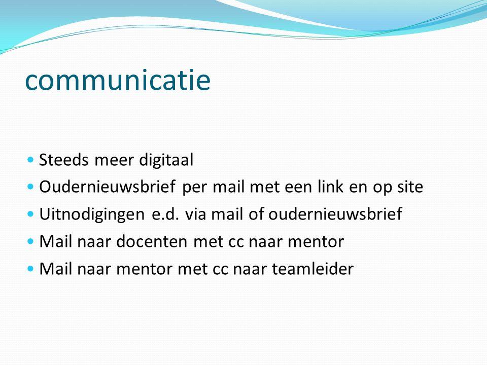 communicatie Steeds meer digitaal Oudernieuwsbrief per mail met een link en op site Uitnodigingen e.d. via mail of oudernieuwsbrief Mail naar docenten