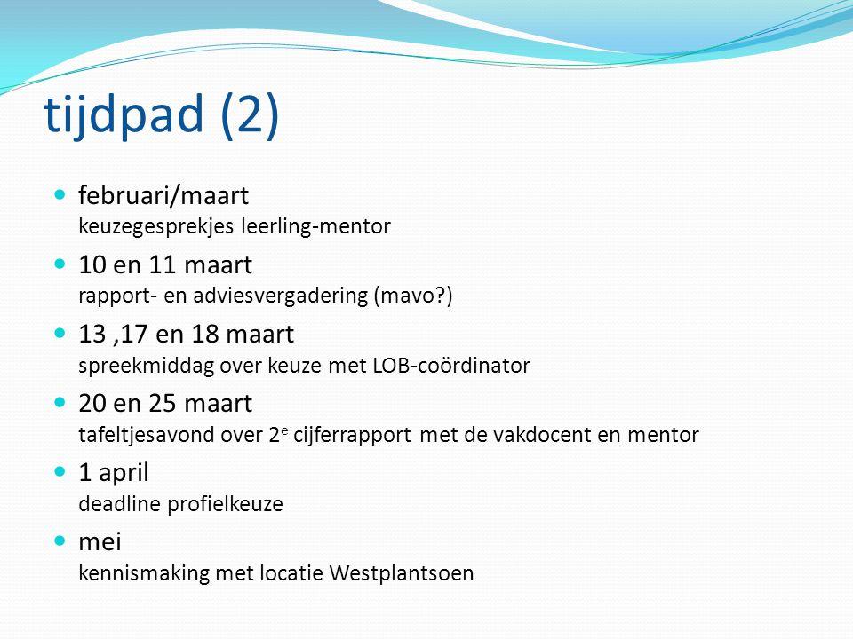 tijdpad (2) februari/maart keuzegesprekjes leerling-mentor 10 en 11 maart rapport- en adviesvergadering (mavo?) 13,17 en 18 maart spreekmiddag over ke