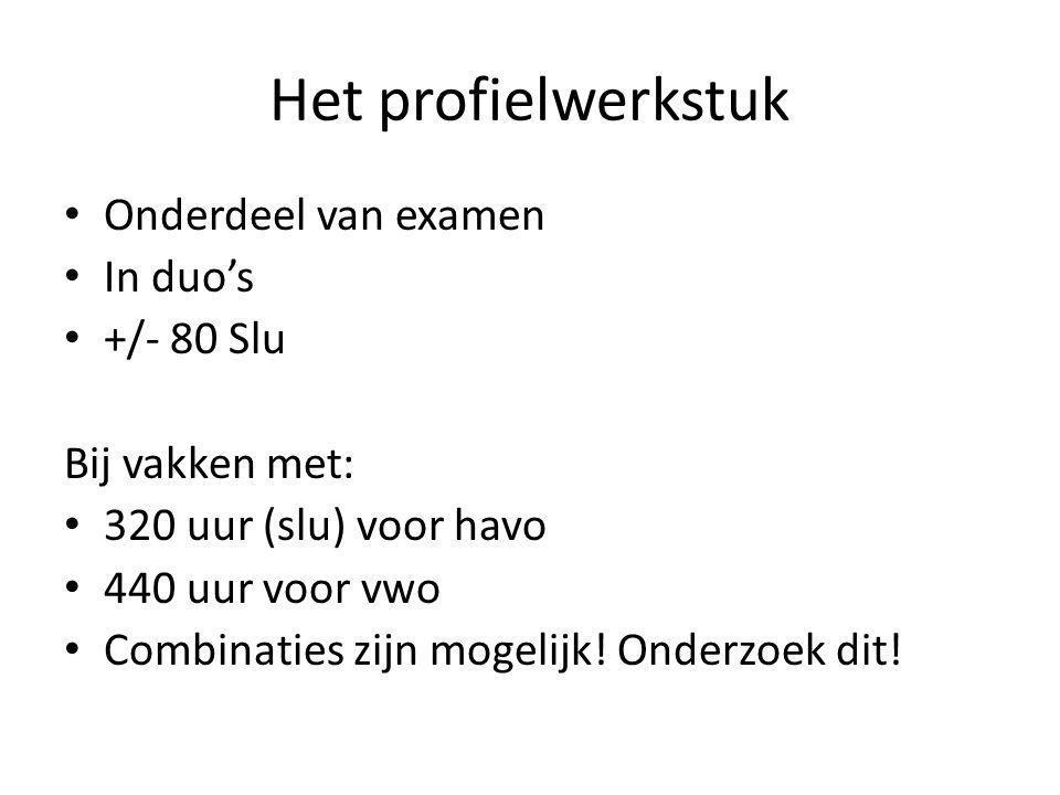 Het profielwerkstuk Onderdeel van examen In duo's +/- 80 Slu Bij vakken met: 320 uur (slu) voor havo 440 uur voor vwo Combinaties zijn mogelijk! Onder