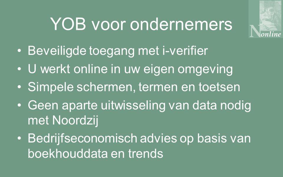 YOB voor ondernemers Beveiligde toegang met i-verifier U werkt online in uw eigen omgeving Simpele schermen, termen en toetsen Geen aparte uitwisseling van data nodig met Noordzij Bedrijfseconomisch advies op basis van boekhouddata en trends