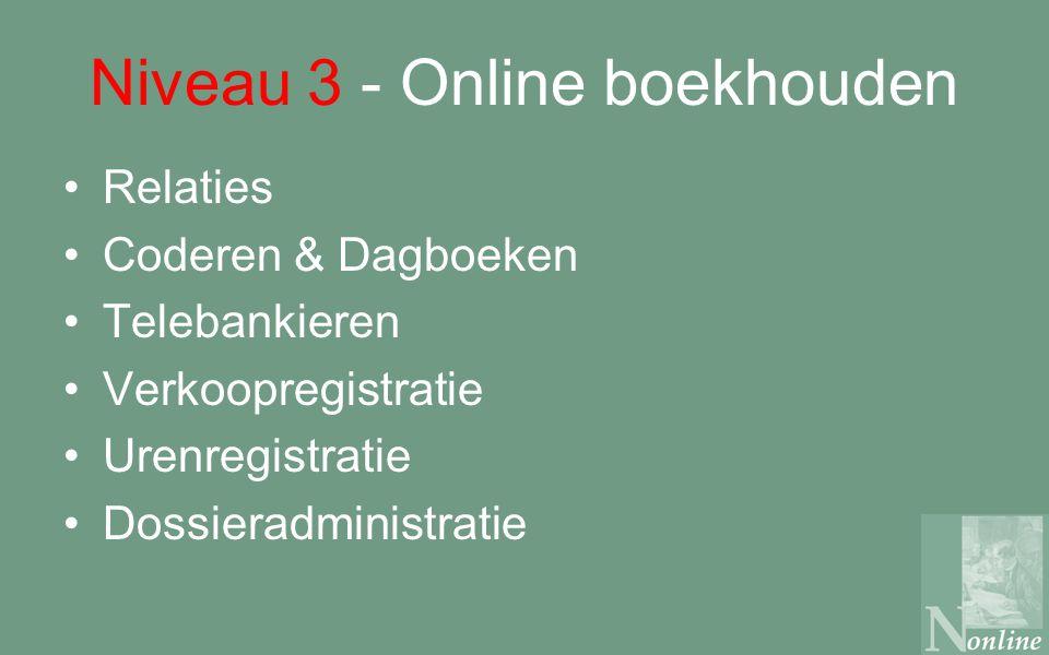 Niveau 3 - Online boekhouden Relaties Coderen & Dagboeken Telebankieren Verkoopregistratie Urenregistratie Dossieradministratie