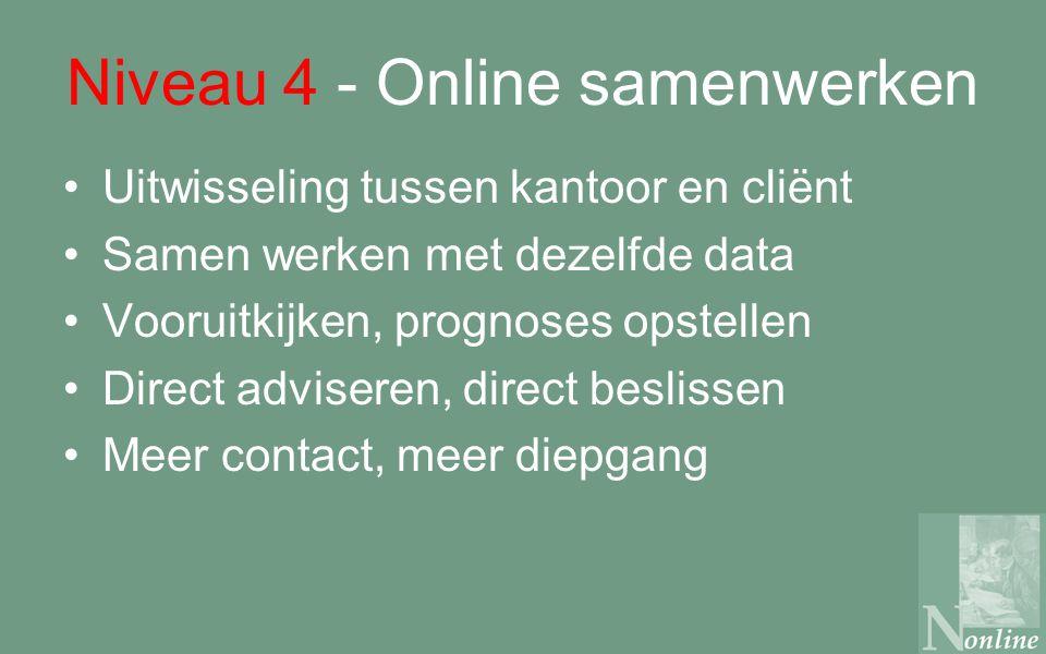 Niveau 4 - Online samenwerken Uitwisseling tussen kantoor en cliënt Samen werken met dezelfde data Vooruitkijken, prognoses opstellen Direct adviseren, direct beslissen Meer contact, meer diepgang