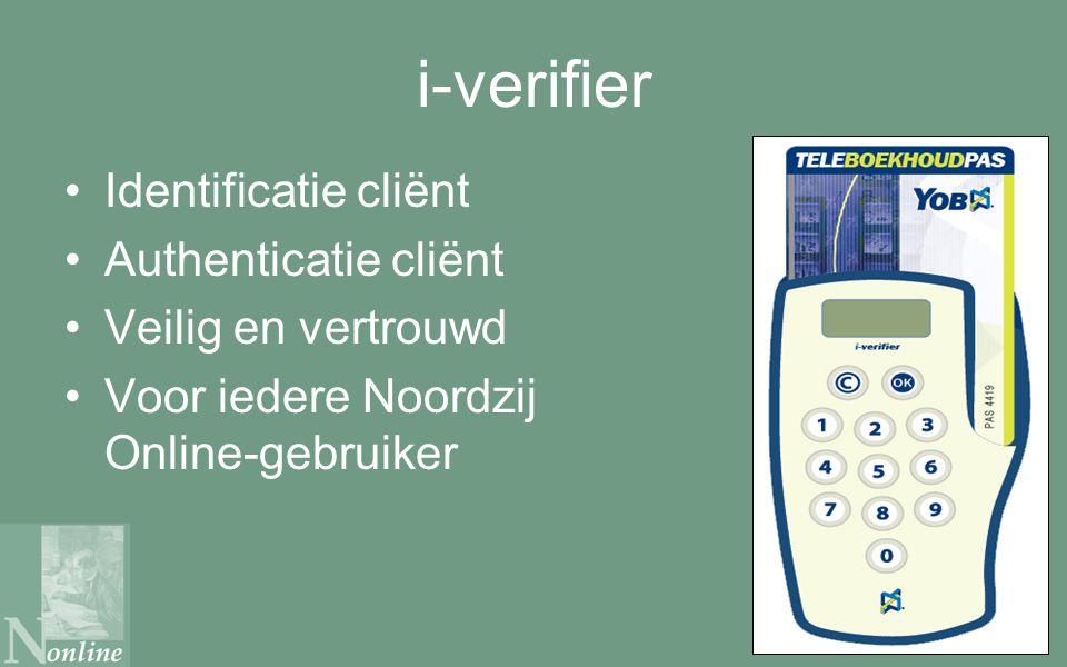 i-verifier Identificatie cliënt Authenticatie cliënt Veilig en vertrouwd Voor iedere Noordzij Online-gebruiker