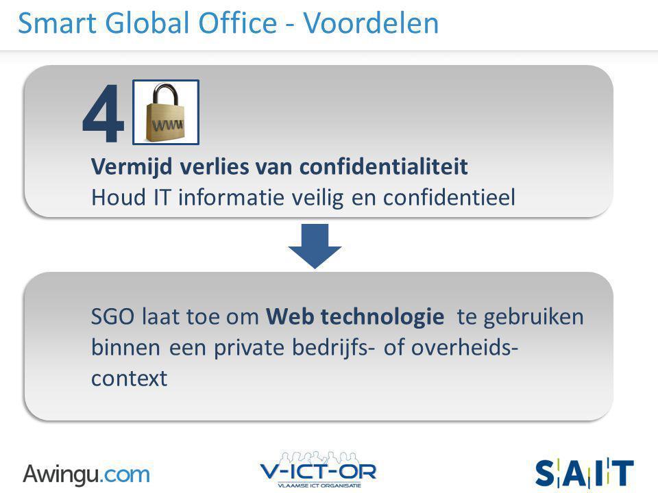 Awingu strictly confidential Smart Global Office - Voordelen Vermijd verlies van confidentialiteit Houd IT informatie veilig en confidentieel SGO laat