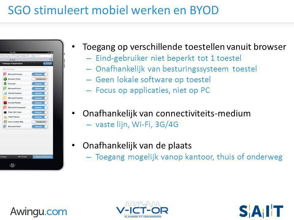 Awingu strictly confidential SGO stimuleert mobiel werken en BYOD Toegang op verschillende toestellen vanuit browser – Eind-gebruiker niet beperkt tot