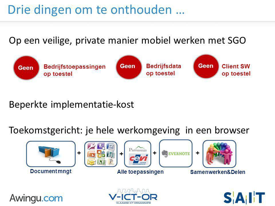 Awingu strictly confidential Drie dingen om te onthouden … Op een veilige, private manier mobiel werken met SGO Beperkte implementatie-kost Toekomstge