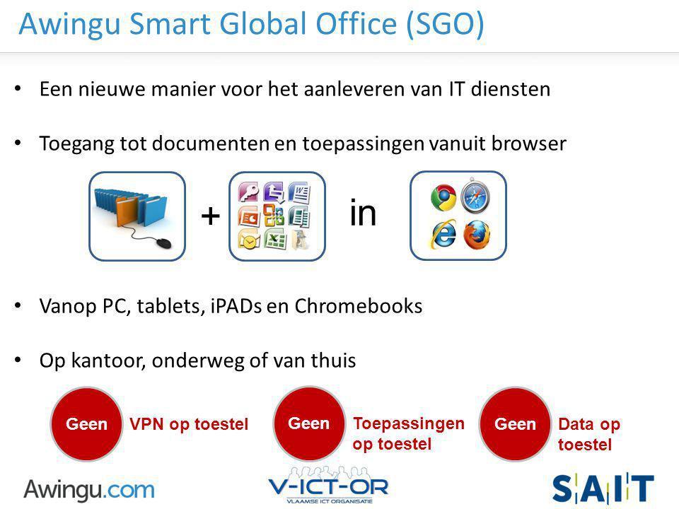 Awingu strictly confidential Awingu Smart Global Office (SGO) Een nieuwe manier voor het aanleveren van IT diensten Toegang tot documenten en toepassi