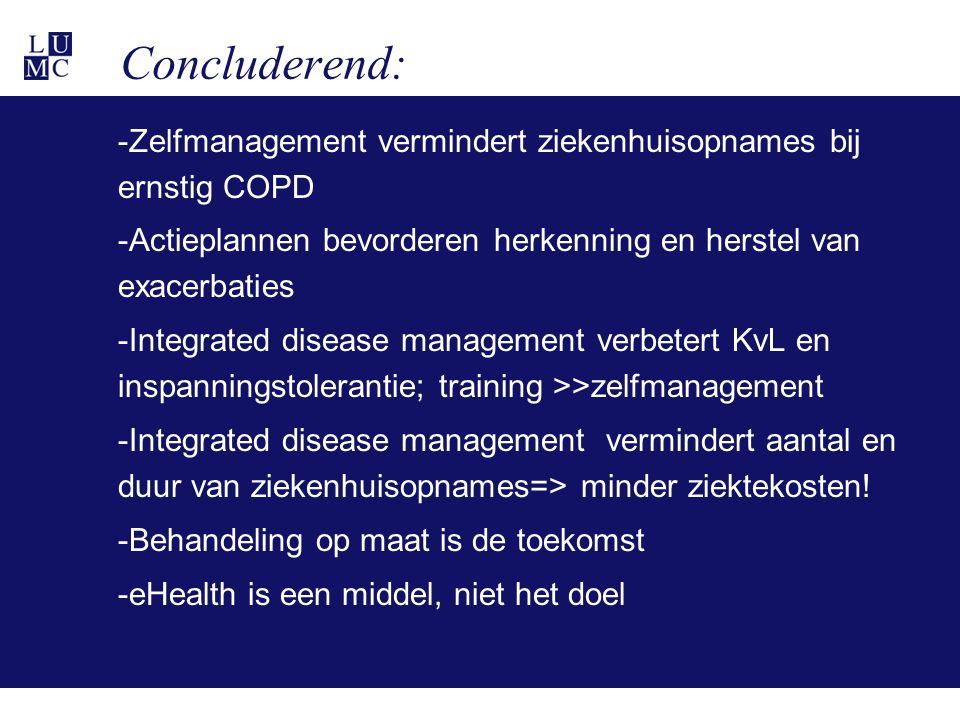Concluderend: -Zelfmanagement vermindert ziekenhuisopnames bij ernstig COPD -Actieplannen bevorderen herkenning en herstel van exacerbaties -Integrated disease management verbetert KvL en inspanningstolerantie; training >>zelfmanagement -Integrated disease management vermindert aantal en duur van ziekenhuisopnames=> minder ziektekosten.