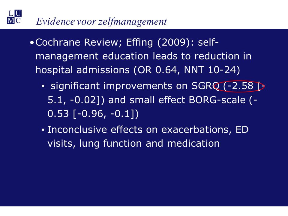 Longterm effects of Integrated Disease Management in Bocholtz Study on Health Status in primary care COPD-patients with baseline MRC>2* Intervention group CCQ difference ** / 95% CI p-valueControl group CCQ difference ** / 95% CI p-value At 12 months -0.9[-1.4, -0.4]0.002+0.01[-0.3, 0.3]1 At 24 months -1.2[-1.8, -0.5]0.004-0.02[-0.8, 0.8]1 *paired samples T-test; p is considered significant at values<0.05; **MCID CCQ = -0.4 CCQ, Clinical COPD Questionnaire