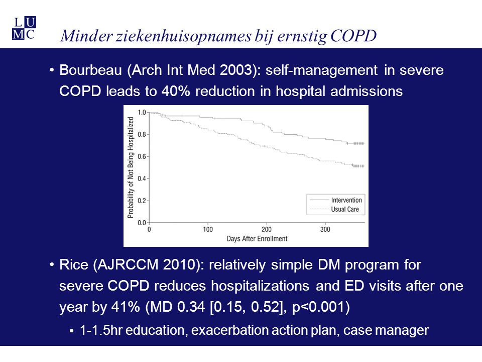 Recente ontwikkelingen Bisschoff (Thorax 2011): In severe COPD, adherence to written exacerbation action plan (40%) is associated with reduction in recovery time (-5.8 days, p=0.0001) No effect on unscheduled healthcare utilisation Trappenburg (Thorax 2011): Individualised action plan in moderate-severe COPD decreases impact of exacerbations on health status (HR 1.58 [0.96, 2.6]) and tends to accelerate recovery (-3.7 days [-7.3, -0.04]) Action plan plus ongoing support by case manager