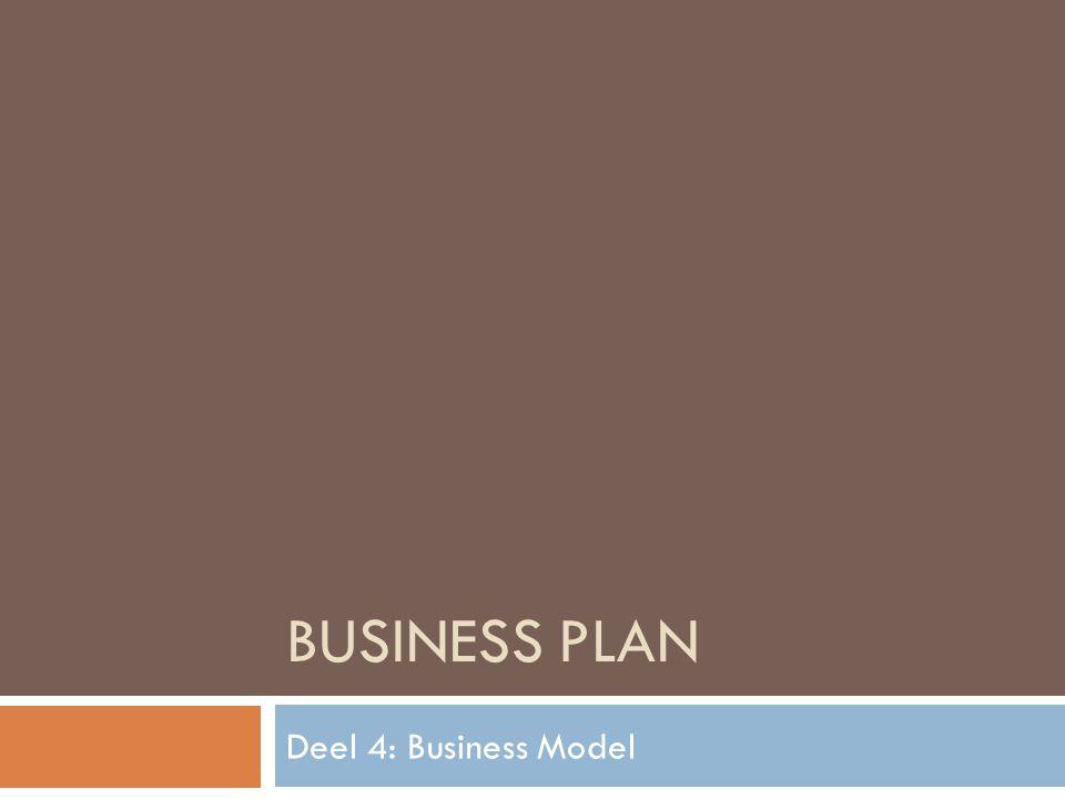 BUSINESS PLAN Deel 4: Business Model