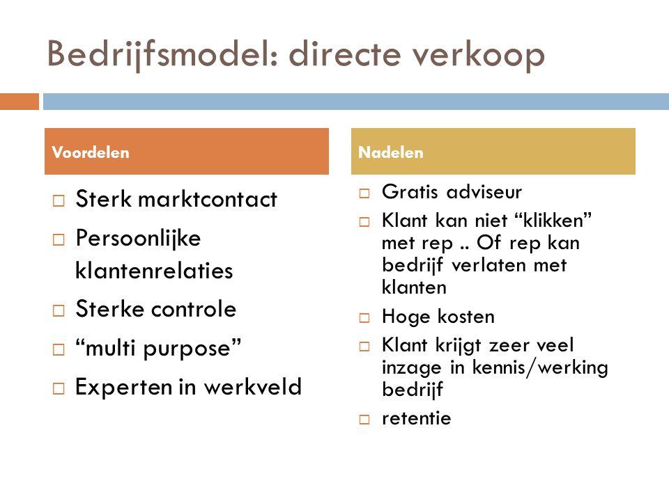 """Bedrijfsmodel: directe verkoop  Sterk marktcontact  Persoonlijke klantenrelaties  Sterke controle  """"multi purpose""""  Experten in werkveld  Gratis"""