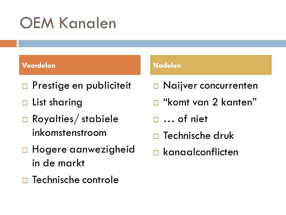 OEM Kanalen  Prestige en publiciteit  List sharing  Royalties/ stabiele inkomstenstroom  Hogere aanwezigheid in de markt  Technische controle  N