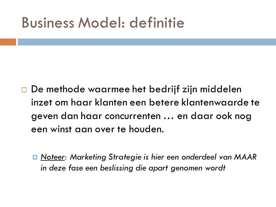 Business Model: definitie  De methode waarmee het bedrijf zijn middelen inzet om haar klanten een betere klantenwaarde te geven dan haar concurrenten