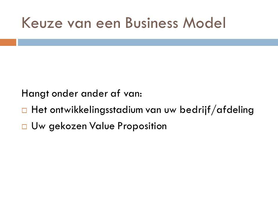 Keuze van een Business Model Hangt onder ander af van:  Het ontwikkelingsstadium van uw bedrijf/afdeling  Uw gekozen Value Proposition