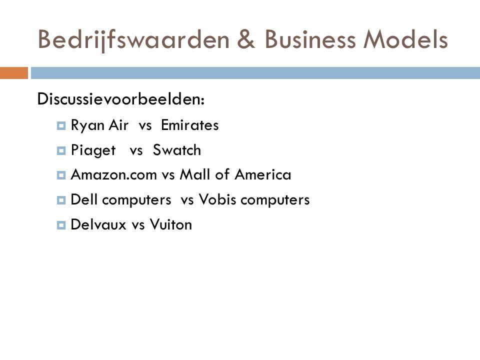 Bedrijfswaarden & Business Models Discussievoorbeelden:  Ryan Air vs Emirates  Piaget vs Swatch  Amazon.com vs Mall of America  Dell computers vs