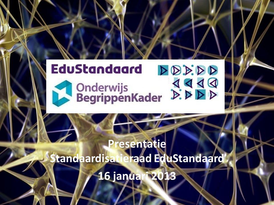 Presentatie Standaardisatieraad EduStandaard 16 januari 2013