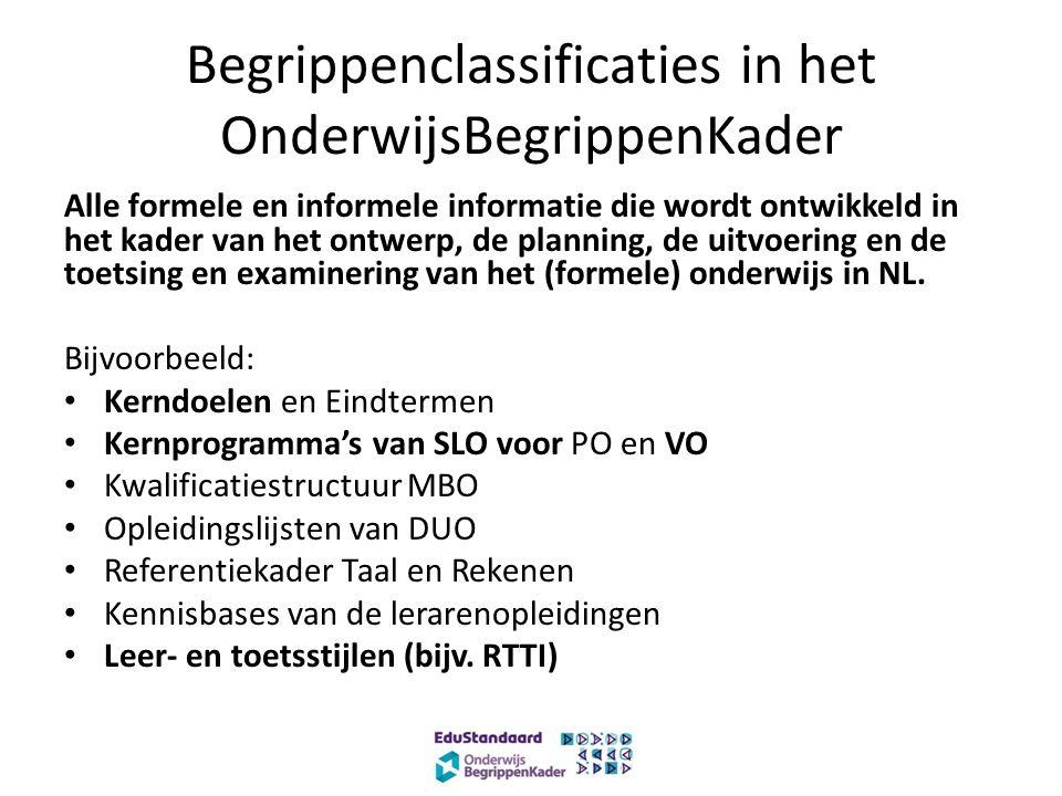 Begrippenclassificaties in het OnderwijsBegrippenKader Alle formele en informele informatie die wordt ontwikkeld in het kader van het ontwerp, de planning, de uitvoering en de toetsing en examinering van het (formele) onderwijs in NL.