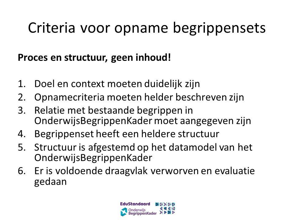 Criteria voor opname begrippensets Proces en structuur, geen inhoud.