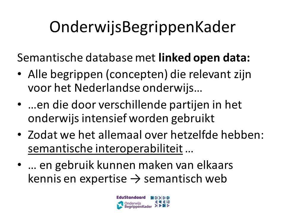 OnderwijsBegrippenKader Semantische database met linked open data: Alle begrippen (concepten) die relevant zijn voor het Nederlandse onderwijs… …en die door verschillende partijen in het onderwijs intensief worden gebruikt Zodat we het allemaal over hetzelfde hebben: semantische interoperabiliteit … … en gebruik kunnen maken van elkaars kennis en expertise → semantisch web