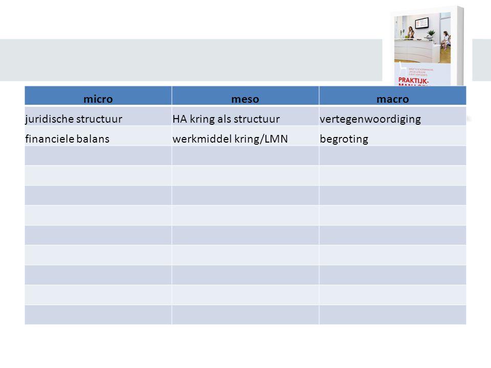 micromesomacro juridische structuurHA kring als structuurvertegenwoordiging financiele balanswerkmiddel kring/LMNbegroting