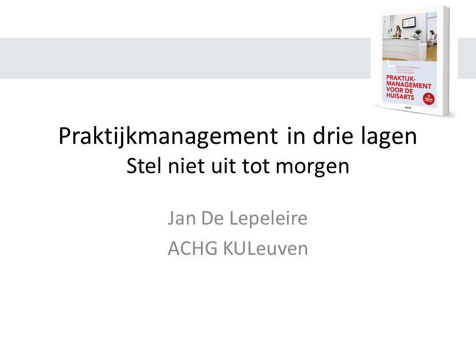 Praktijkmanagement in drie lagen Stel niet uit tot morgen Jan De Lepeleire ACHG KULeuven