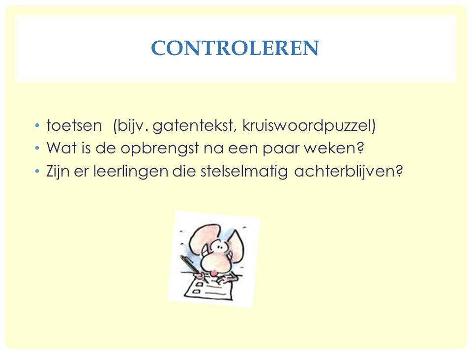 CONTROLEREN toetsen (bijv.gatentekst, kruiswoordpuzzel) Wat is de opbrengst na een paar weken.