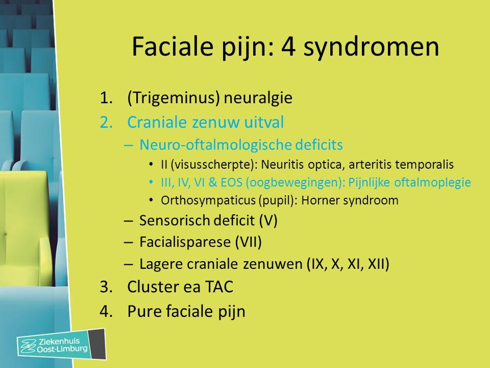 Faciale pijn: 4 syndromen 1.(Trigeminus) neuralgie 2.Craniale zenuw uitval – Neuro-oftalmologische deficits II (visusscherpte): Neuritis optica, arter