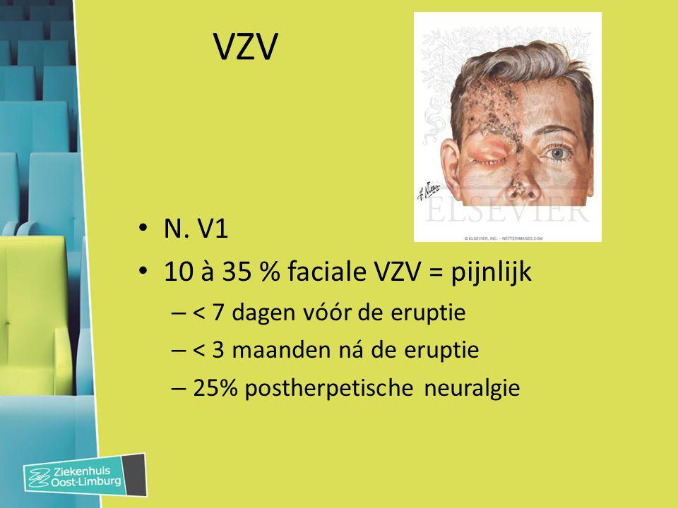 VZV N. V1 10 à 35 % faciale VZV = pijnlijk – < 7 dagen vóór de eruptie – < 3 maanden ná de eruptie – 25% postherpetische neuralgie