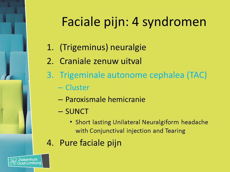 Faciale pijn: 4 syndromen 1.(Trigeminus) neuralgie 2.Craniale zenuw uitval 3.Trigeminale autonome cephalea (TAC) – Cluster – Paroxismale hemicranie –