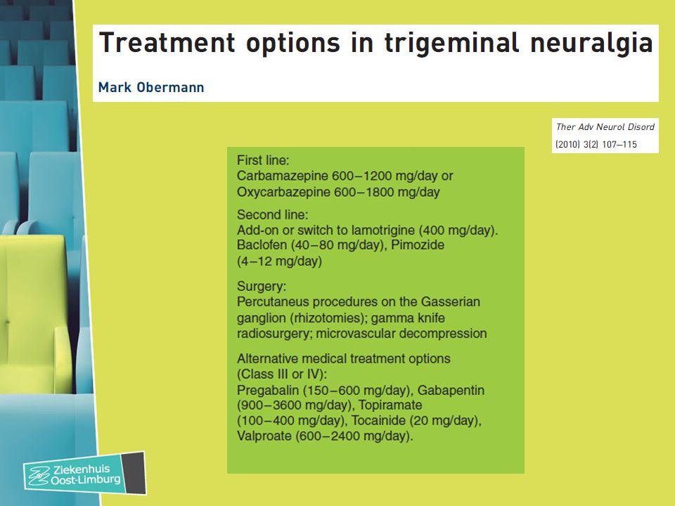 Faciale pijn: 4 syndromen 1.(Trigeminus) neuralgie 2.Craniale zenuw uitval 3.Trigeminale autonome cephalea (TAC) – Cluster – Paroxismale hemicranie – SUNCT Short lasting Unilateral Neuralgiform headache with Conjunctival injection and Tearing 4.Pure faciale pijn